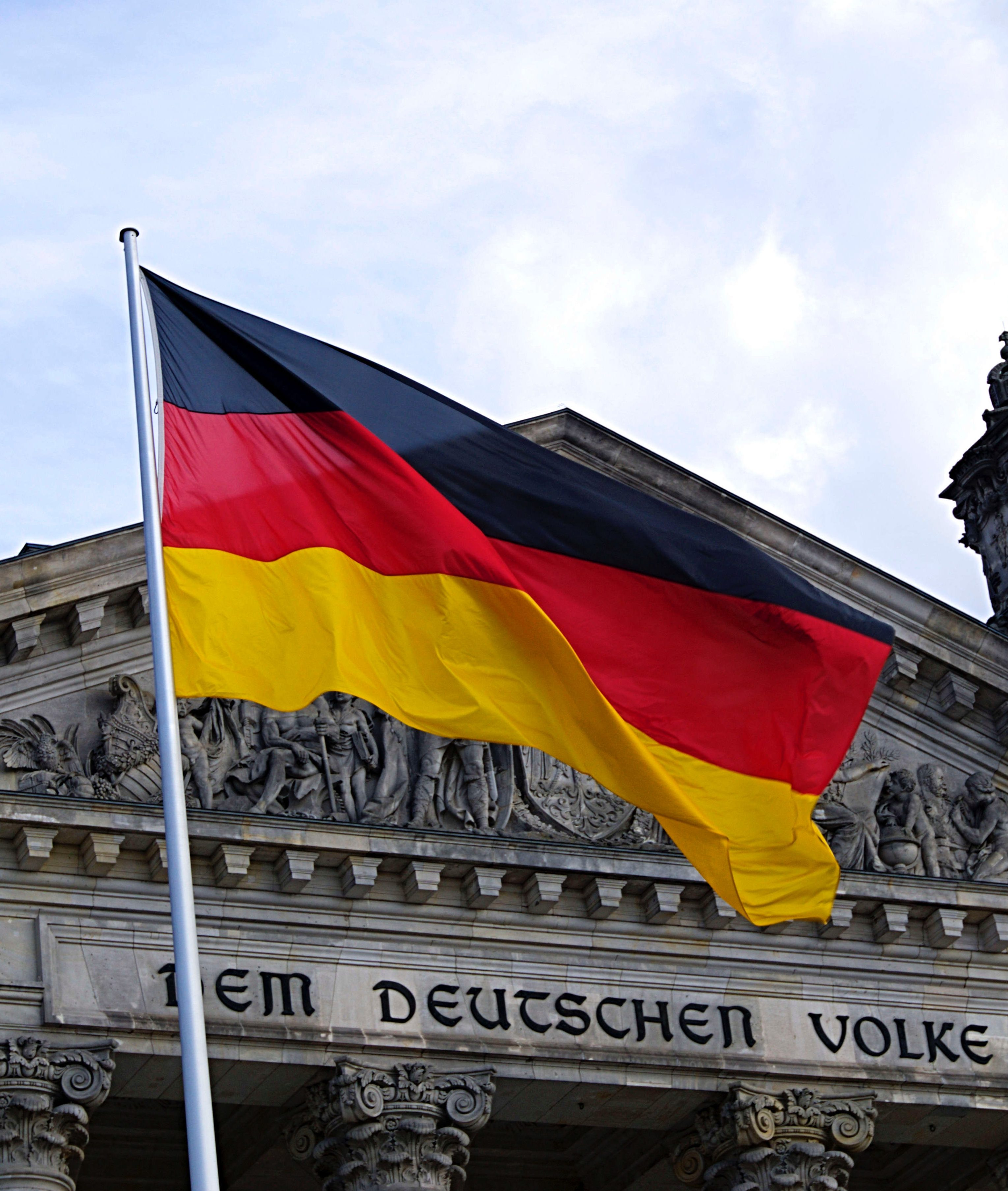 German flag in front of building