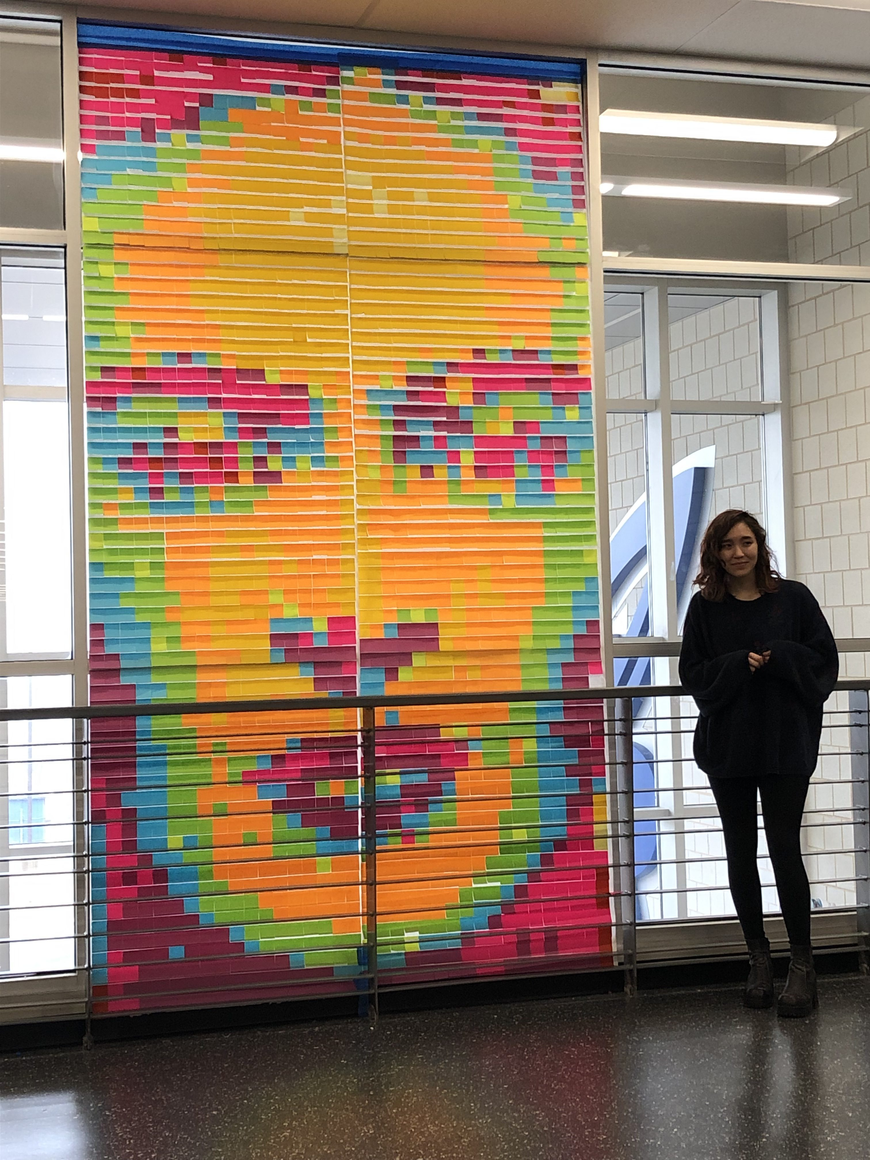 portrait made from post-its