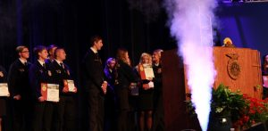 Central FFA Members Jayden Perez and Andrew Haviland receiving the Award for the Central Burlington FFA Chapter being named the 1st place Chapter for the Heritage Program