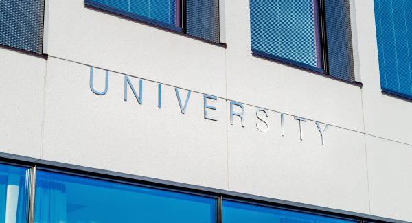 "The word ""University"" on a building"