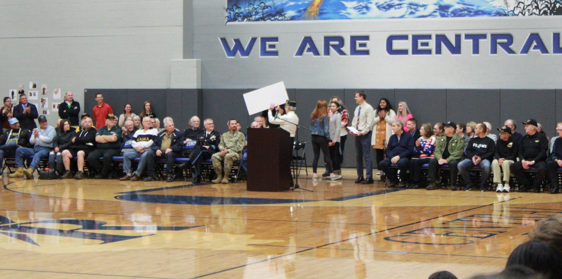 Veterans in attendance at Veterans Day assembly